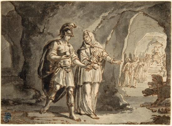 Эней и сивилла Кумская в подземном царстве. Арнольд Хоубракен