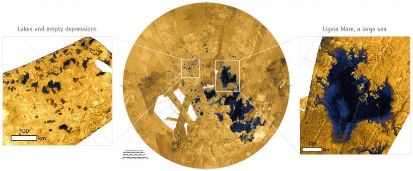 Озера и моря на Титане / Изображение: USGS/ASI/JPL-Caltech/NASA