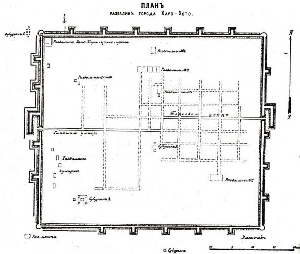 План развалин Хара-Хото