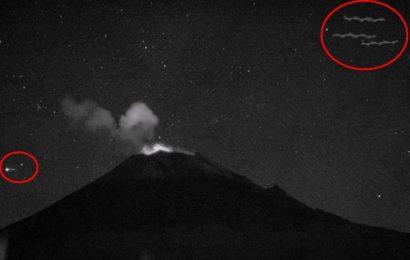 Web-камера у вулкана Попокатепетль (Мексика) зафиксировала сразу четыре НЛО