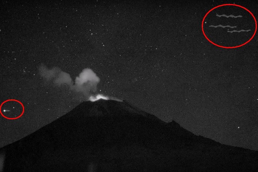 Web-камера у вулкана Попокатепетль зафиксировала сразу четыре НЛО