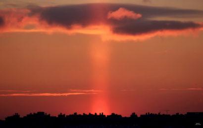 Столб света был замечен над Москвой