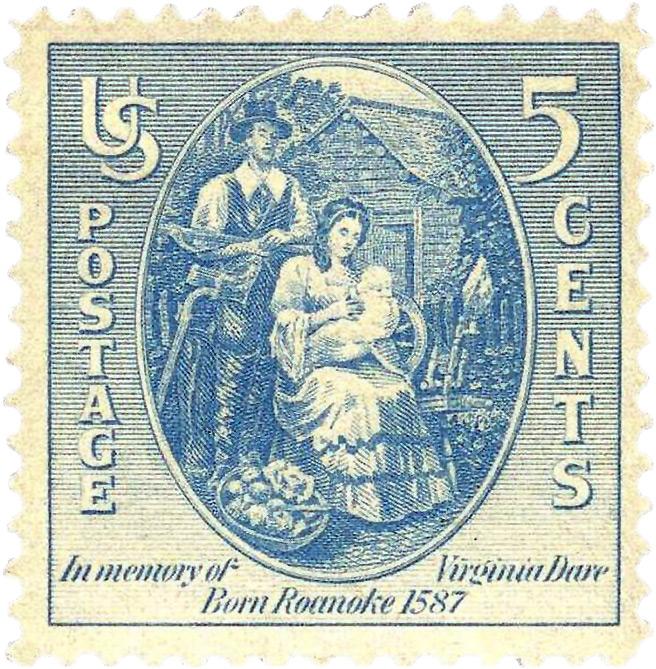 Памятная почтовая марка, посвящённая 350-летию со дня рождения Вирджинии Дэйр