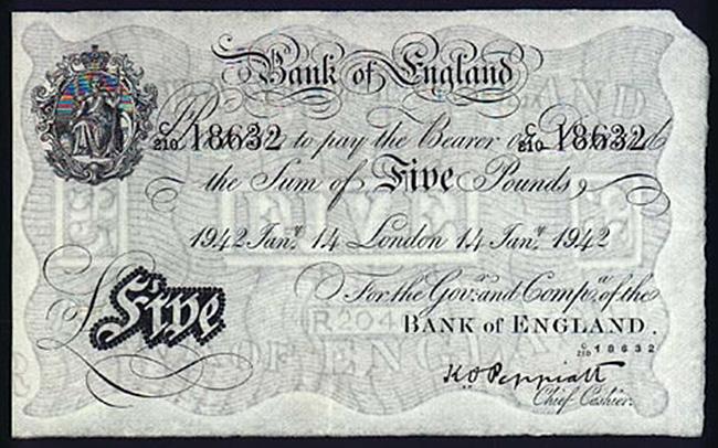 Фальшивая банкнота банка Англии