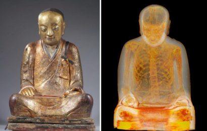 Мумия монаха обнаружена внутри статуи Будды