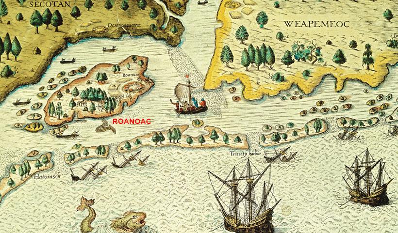 Остров Роанок на старой английской карте