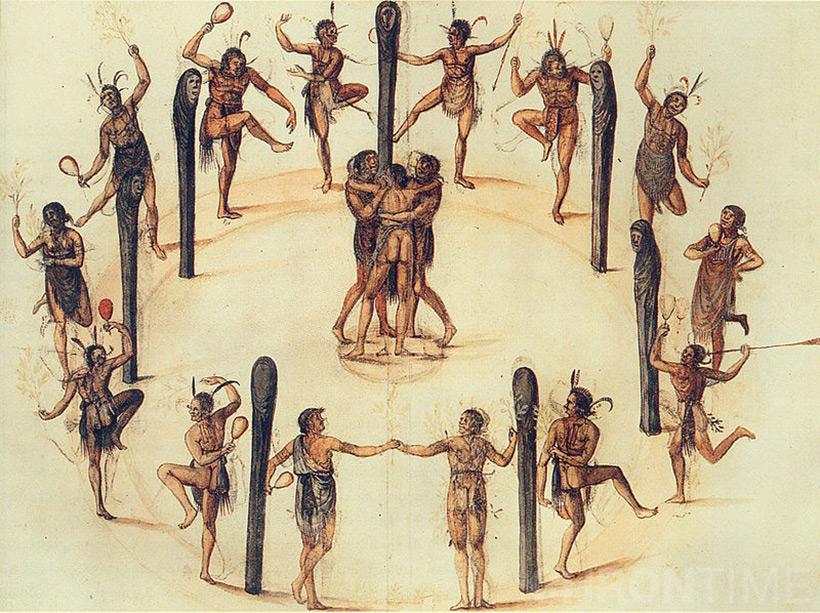 Танцы индейцев Secotan. Акварель кисти Джона Уайта, 1585 год.