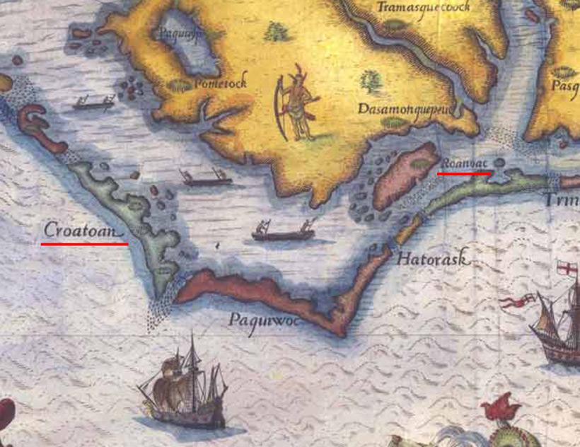 Острова Кроатон (Croatoan) и Роанок (Roanoke) на старой карте