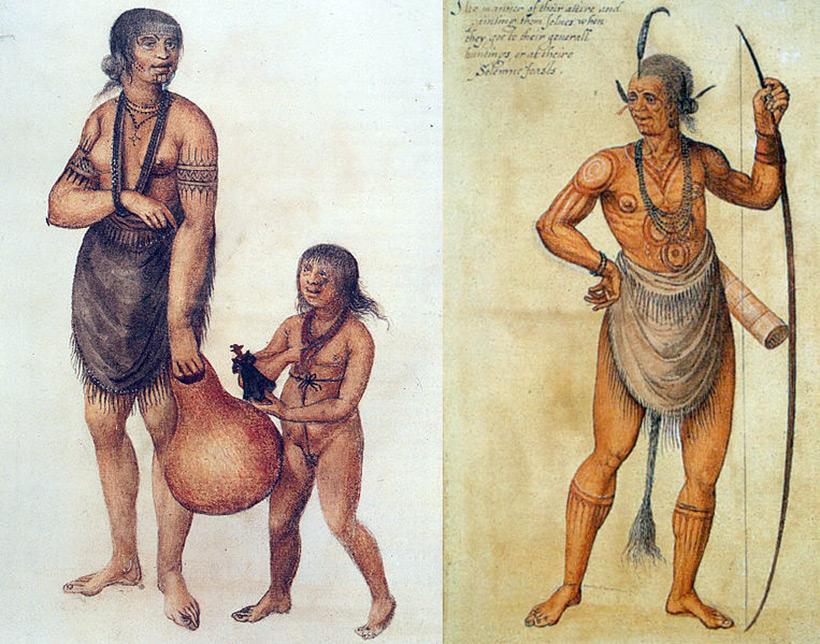 Мать с ребёнком и воин индейцев племени Secotan. Акварель кисти Джона Уайта, 1585 год.