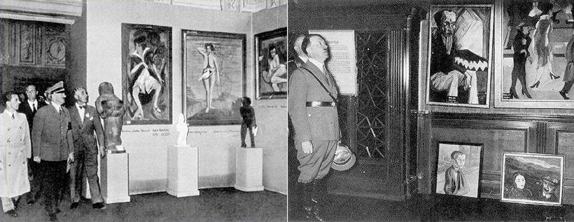 Геббельс и Гитлер на выставке дегенеративного искусства