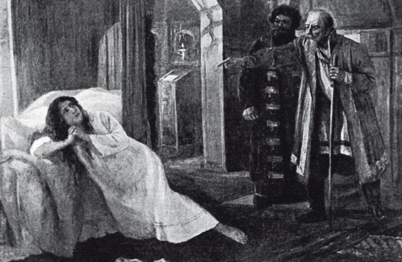 Царь Иоанн Грозный приговаривает свою пятую жену Марию Долгорукую к смерти