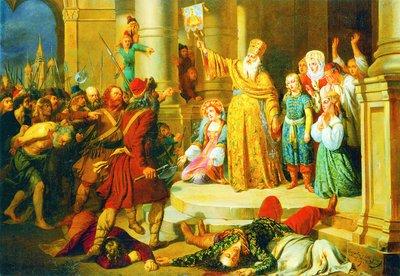Царь Петр Алексеевич во время стрелецкого бунта в Московском Кремле 15 мая 1682 г.