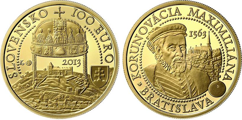 Золотая монета серии «Коронации в Братиславе»