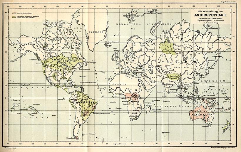 Карта территорий, где проживали племена людоедов