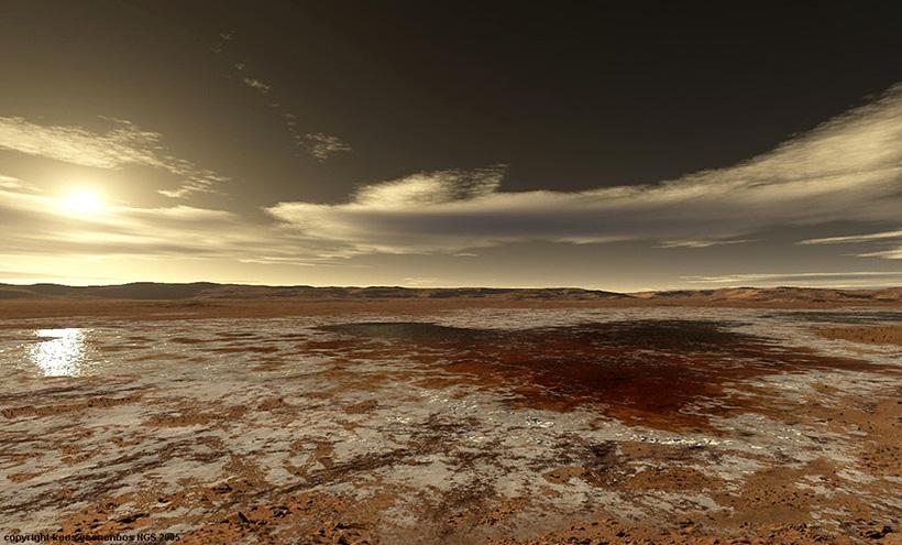 Испаряющееся соленое озеро в кратере Гусева в начале амазонийской эры