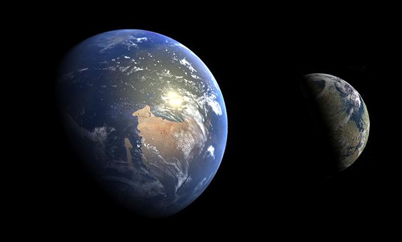 Земля и Марс в гесперийскую эру в масштабе