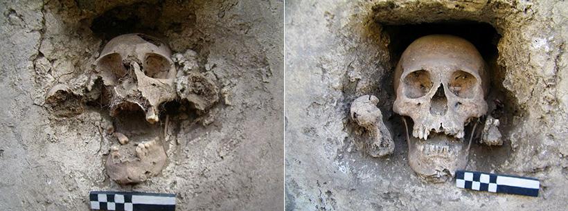 Черепа в стене храма бога смерти Миктлантекутли