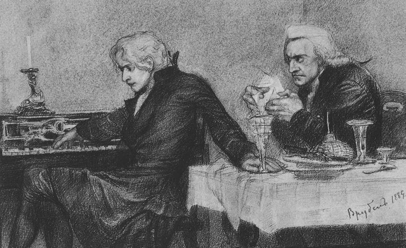 Сальери всыпает яд в бокал Моцарта