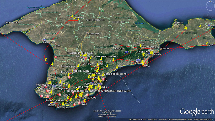 Ориентировочная схема подземных туннелей под Крымом