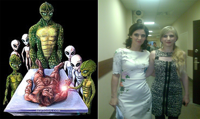 На изображении слева - рептилоиды и их биороботы, серые гуманоиды. На фотографии справа - ведущая программы «Дело-Икс» на телеканале «Россия-1» Лидия Велижева и Мария Сорокоумова