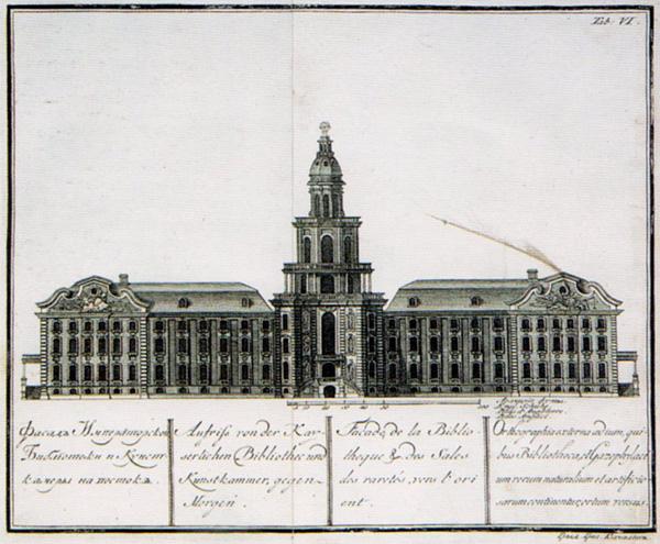 Фасад Императорской библиотеки и Кунсткамеры
