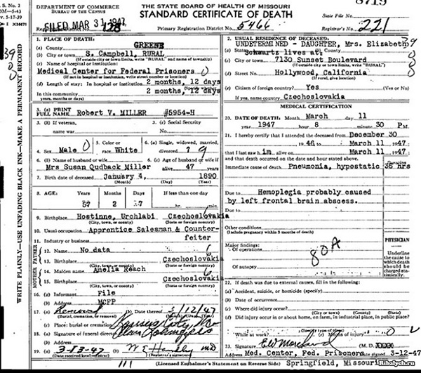 Сертификат о смерти Виктора Люстига