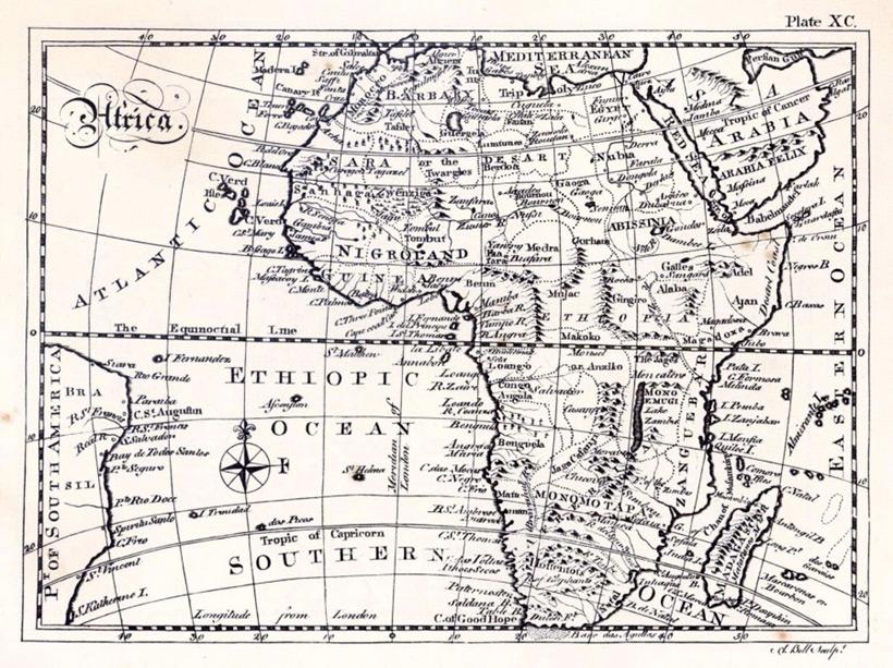 Британская карта Африки от 1768 года
