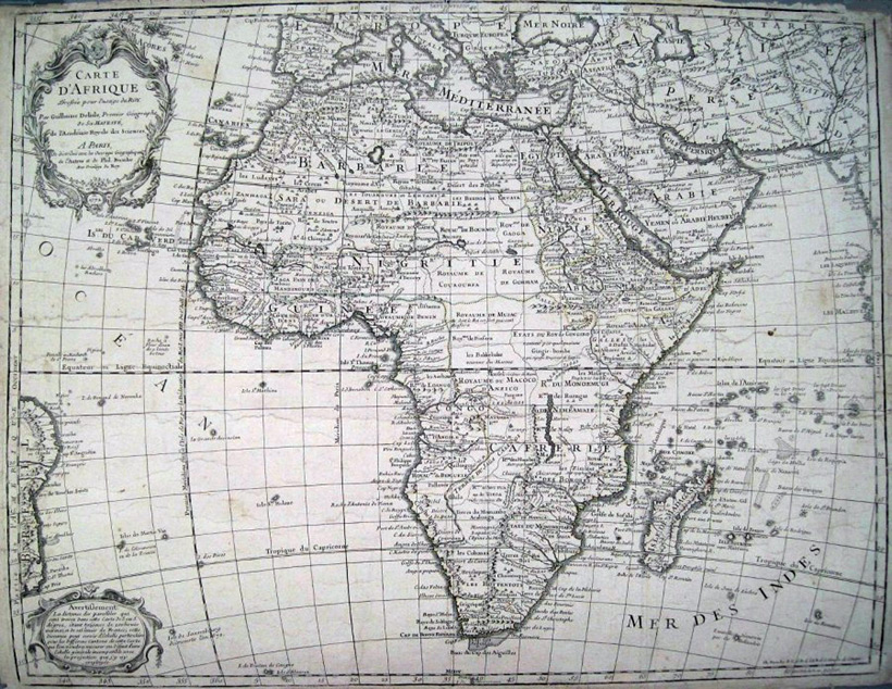 Картограф Guillaume Delisle. Carte d'Afrique. Paris, 1722 год