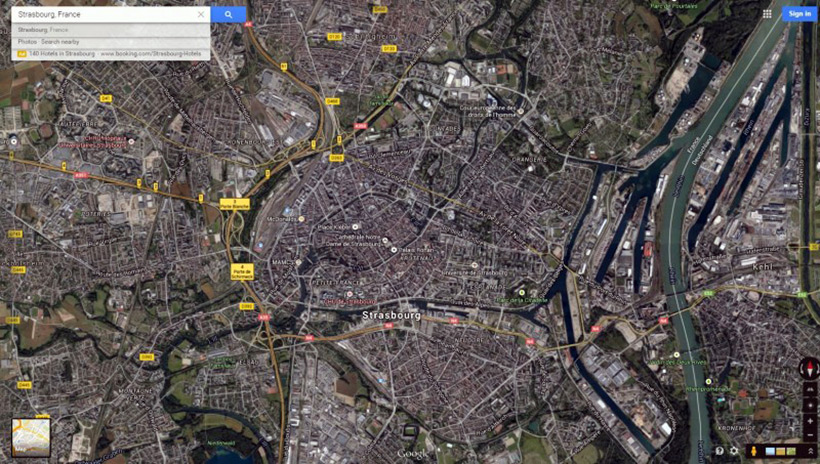 Страсбург со спутника
