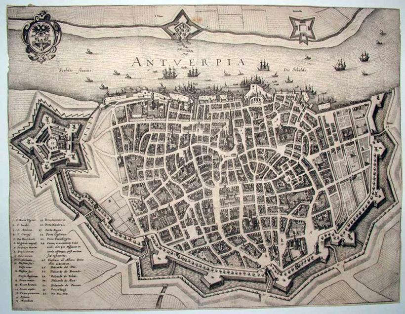Антверпен. План от 1642 года, наклонен на 90 градусов