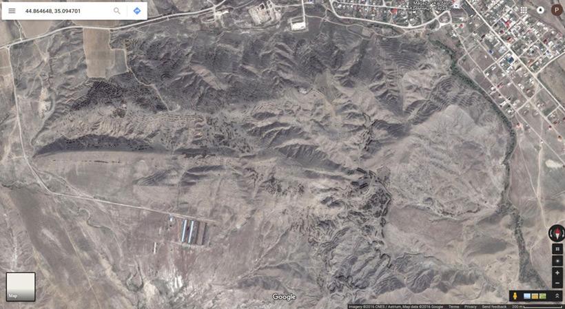 Спутниковый скриншот рефорестизации древних отвалов под Судаком