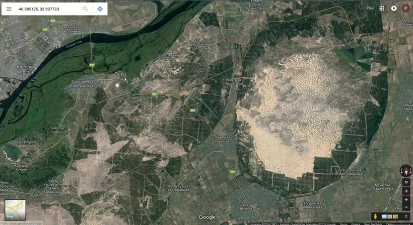 Спутниковый скриншот рефорестизации старого песчаного хвостохранилища под Херсоном