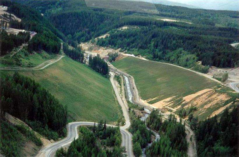 Рудник Mark Creek после озеленения - рефорестизации