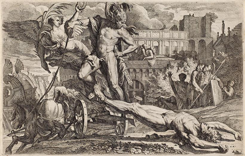 Ахилл протаскивает тело Гектора