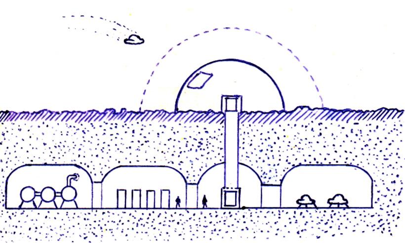 Наземно-подземная база на пустынном спутнике